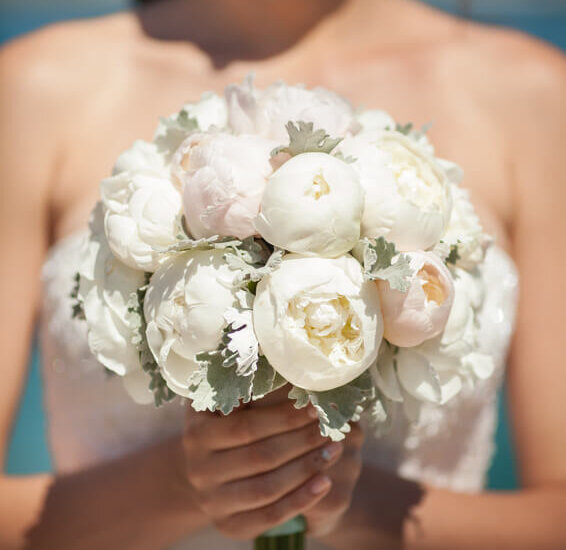 wedding bride bouquet of fresh bridal flowers